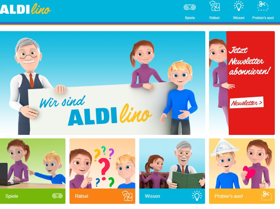 Screenshot of the website of Aldi Süd's new kids brand.