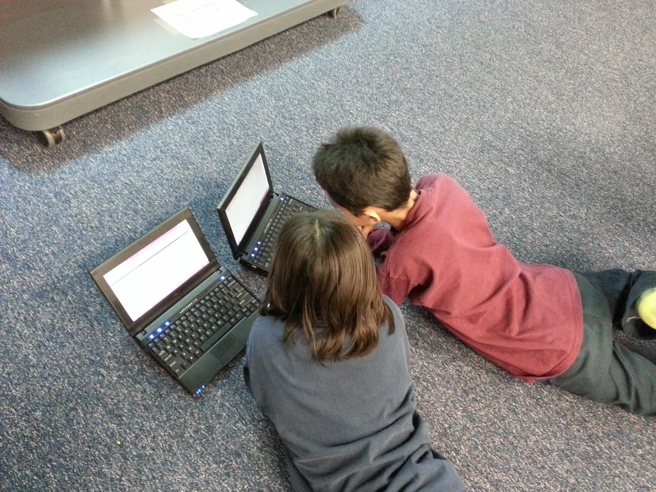 Children with a laptop – Often they don't recognize advertising